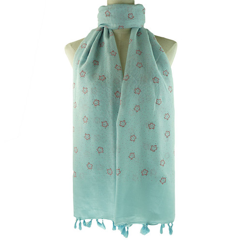 Blue Floral All Season Scarf