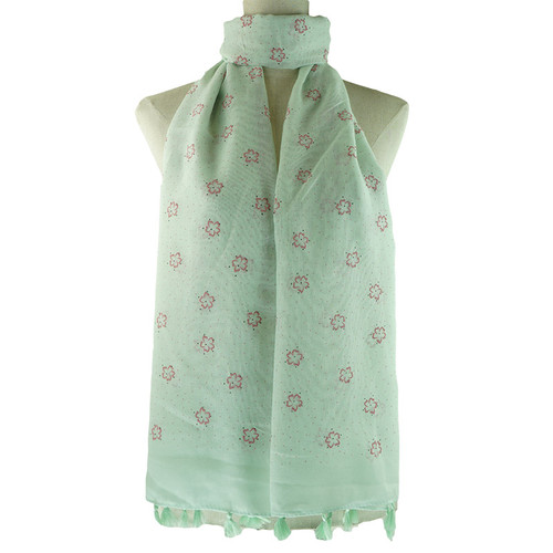 Teal Floral All Season Scarf