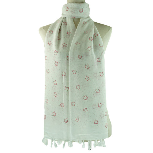 White Floral All Season Scarf