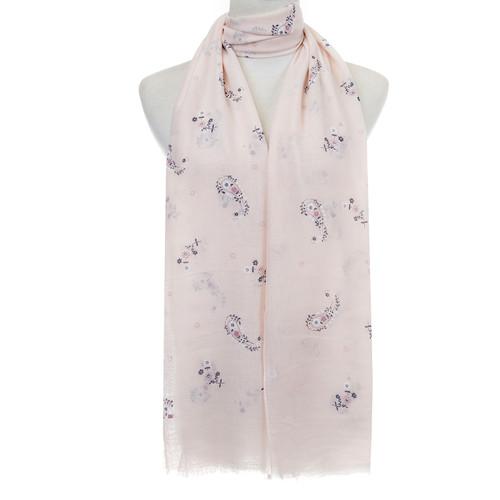 Beige Floral Pattern Lightweight Soft Large Premium Scarf