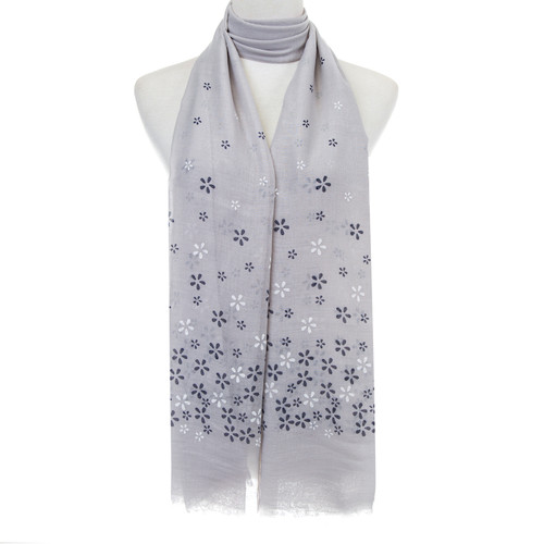 Grey Floral Pattern Lightweight Soft Large Premium Scarf