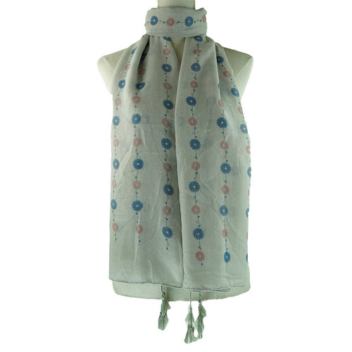 Grey Floral Pattern Tassel Lightweight Soft Large Premium Scarf