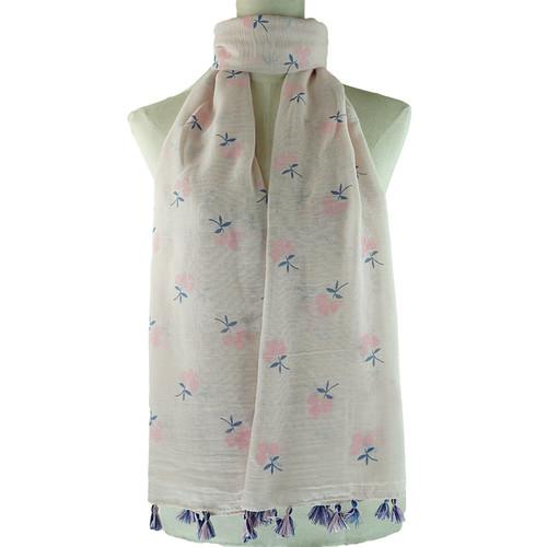 Pink Floral Pattern Tassel Lightweight Soft Large Premium Scarf