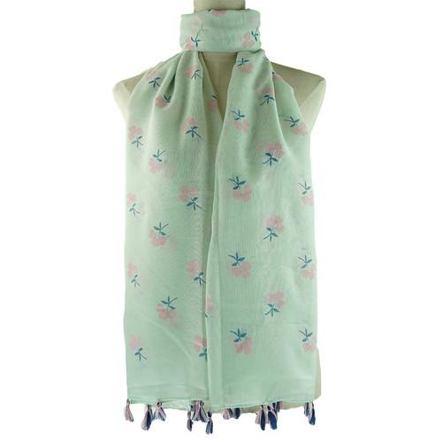 Teal Floral Pattern Tassel Lightweight Soft Large Premium Scarf