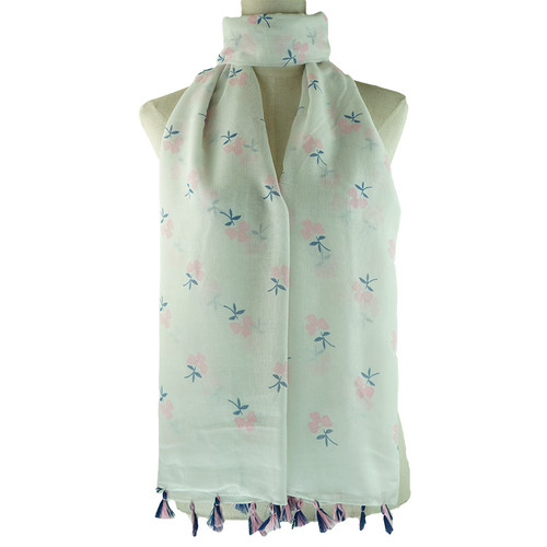 White Floral Pattern Tassel Lightweight Soft Large Premium Scarf