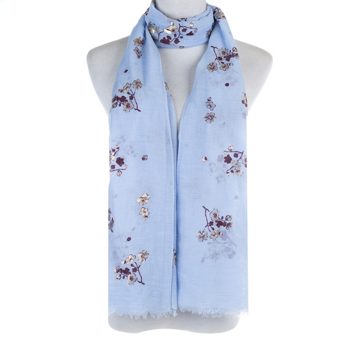 BLUE Golden Foil Floral Pattern Lightweight Soft Large Premium Scarf