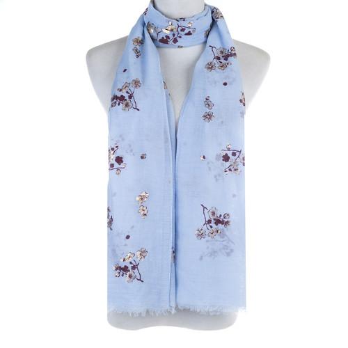 BLUE Golden Foil Floral Pattern Lightweight Soft Large Premium Scarf