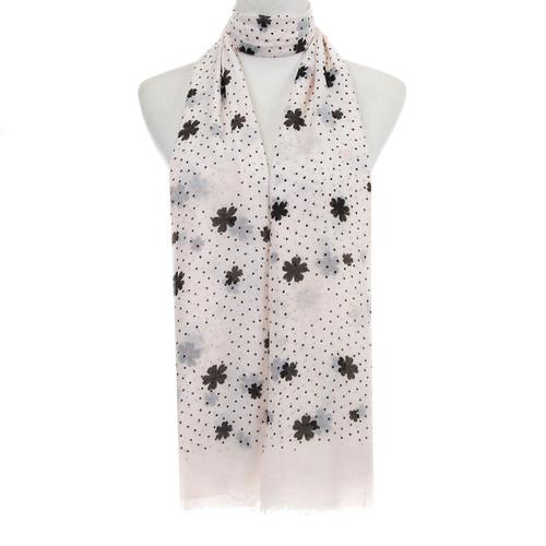 BEIGE Floral Dots Pattern Lightweight Soft Large Premium Scarf
