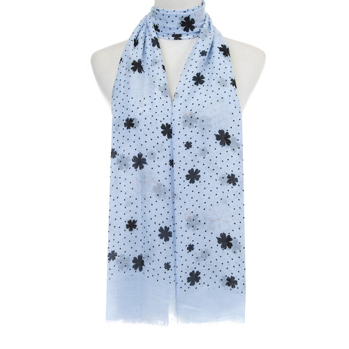 BLUE Floral Dots Pattern Lightweight Soft Large Premium Scarf
