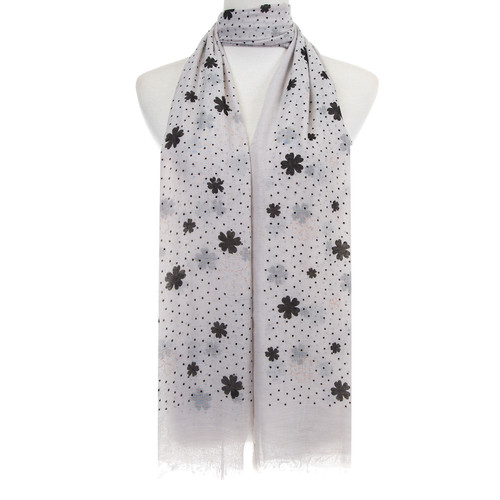 GREY Floral Dots Pattern Lightweight Soft Large Premium Scarf