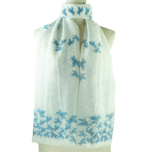 Blue Leaf Pattern All Season Scarf