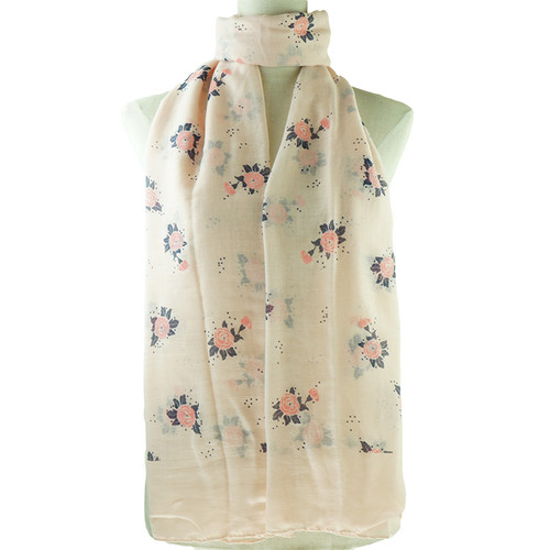 Pink Floral Pattern All Season Scarf