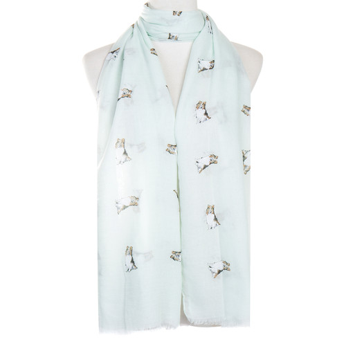 Teal Shepherd Animal Pattern Premium Scarf