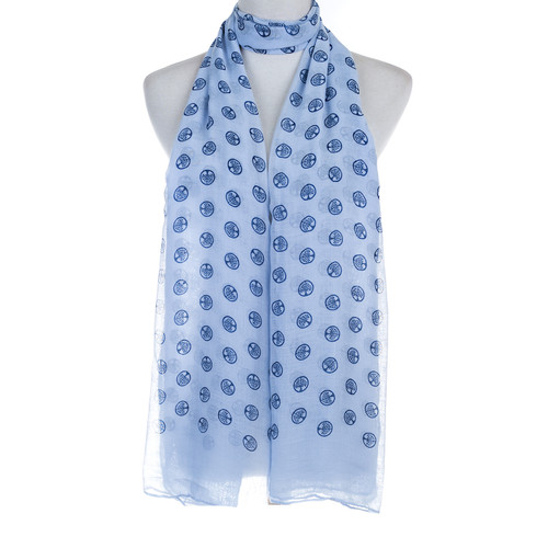 Blue Tree of Life Stamp Lightweight Soft Large Premium Scarf