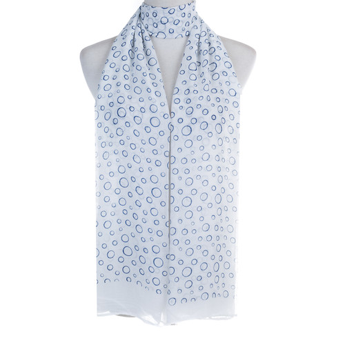 White Bubbles Pattern Lightweight Soft Large Premium Scarf