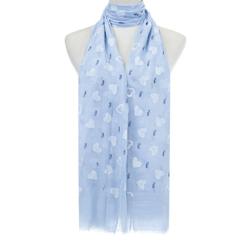 Blue Hearts Pattern Lightweight Soft Large Premium Scarf