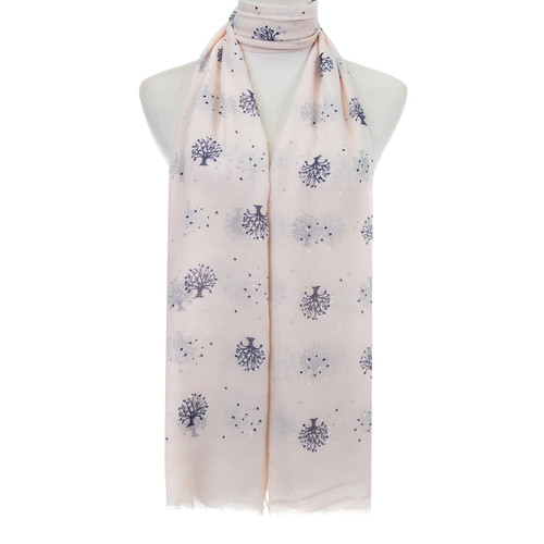 Beige Tree of Life Hearts Pattern Lightweight Soft Large Premium Scarf
