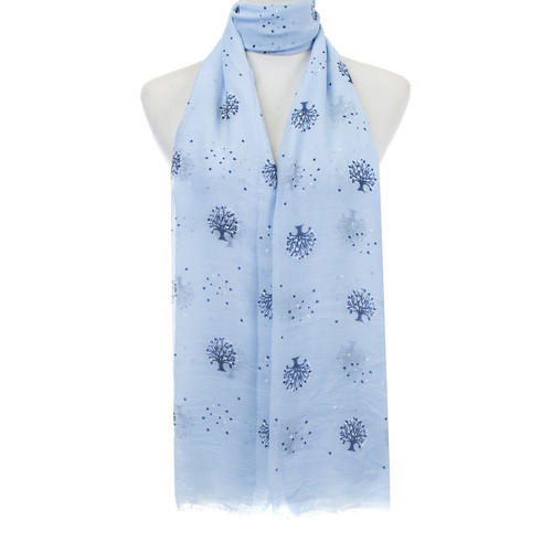 Blue Tree of Life Hearts Pattern Lightweight Soft Large Premium Scarf