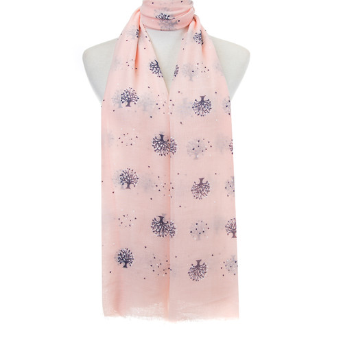 Pink Tree of Life Hearts Pattern Lightweight Soft Large Premium Scarf