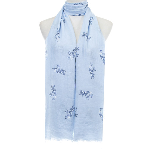 Blue Butterflies Floral Pattern Lightweight Soft Large Premium Scarf