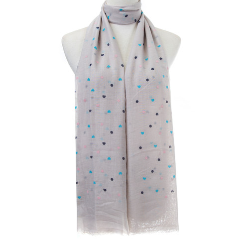Grey Small Hearts Pattern Lightweight Soft Large Premium Scarf