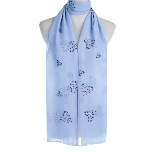 Blue Premium Star Heart Print Large Soft Lightweight All Season Scarves Shawl Wrap