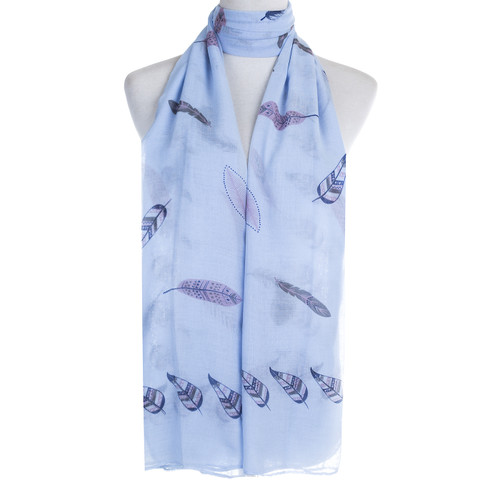 Blue Feather Pattern Premium Large Soft Lightweight All Seasons Scarve Shawl Wrap