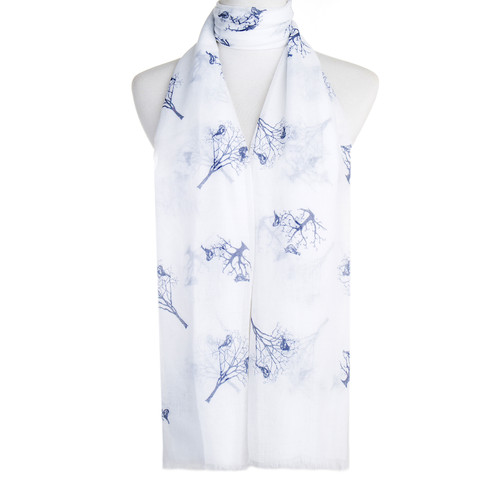 White Bird Tree Pattern Premium Large Soft Lightweight All Seasons Scarve Shawl Wrap