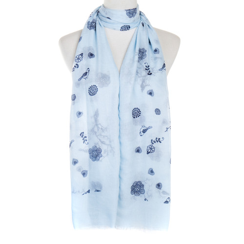 Blue Bird Floral Pattern Premium Large Soft Lightweight All Seasons Scarve Shawl Wrap