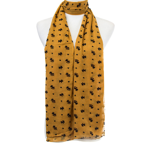 Yellow Rocking Horse Pattern Premium Large Soft Lightweight All Seasons Scarve Shawl Wrap