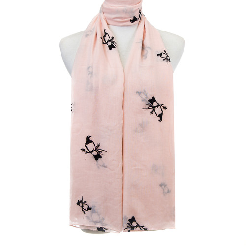 Pink Bird Pattern Premium Large Soft Lightweight All Seasons Scarve Shawl Wrap