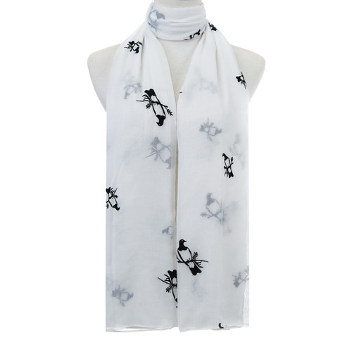 White Bird Pattern Premium Large Soft Lightweight All Seasons Scarve Shawl Wrap