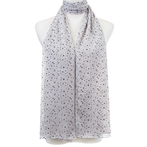 Grey Polka dots Pattern Premium Large Soft Lightweight All Seasons Scarve Shawl Wrap