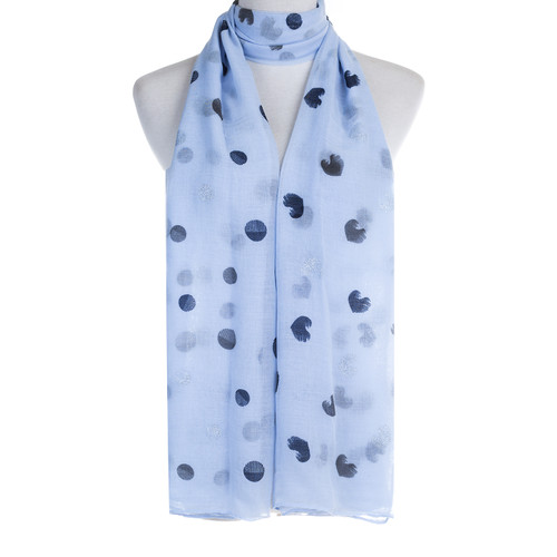 Blue Hearts Dots Pattern Premium Large Soft Lightweight All Seasons Scarve Shawl Wrap