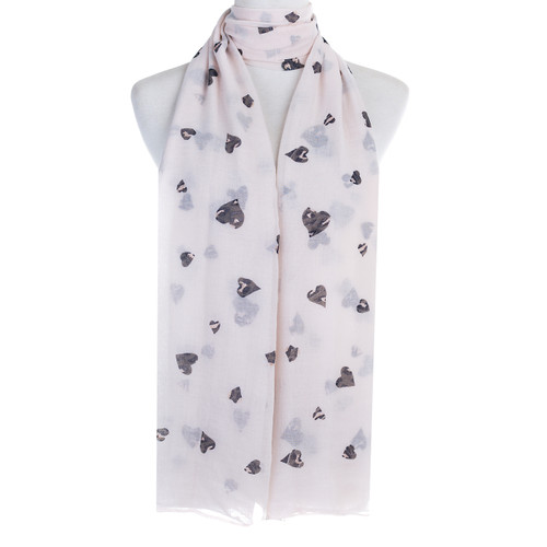 Beige Hearts Pattern Premium Large Soft Lightweight All Seasons Scarve Shawl Wrap