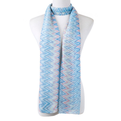Blue Polyline Pattern Premium Large Soft Lightweight All Seasons Scarve Shawl Wrap