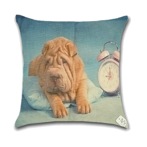 Dog Cushion Cover Waist Throw Pillow Case