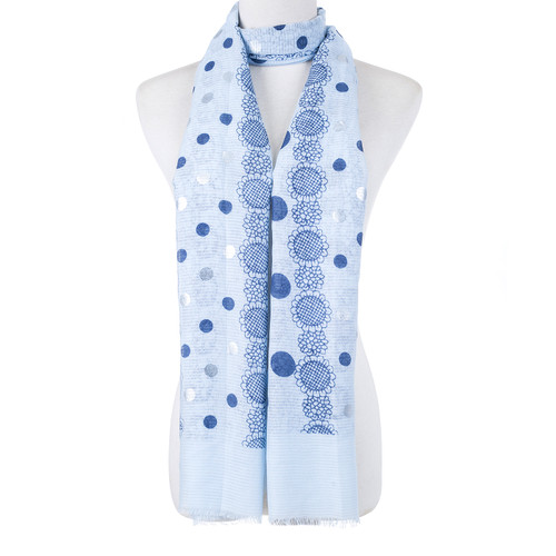 Blue Polka Dots Large Summer Scarf SC8623