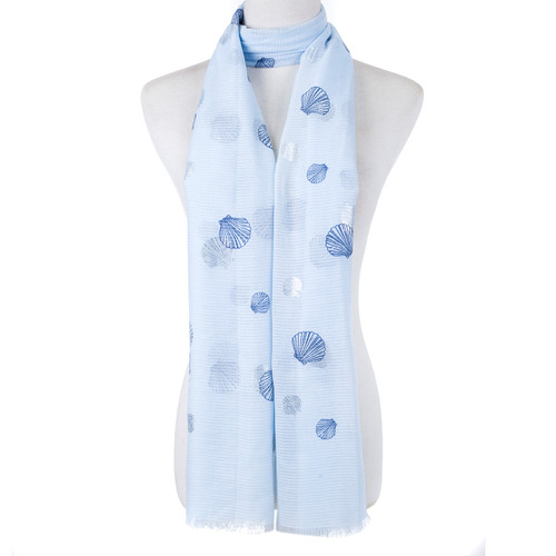 Blue Scallop Shell Pattern Large Summer Scarf SC8625