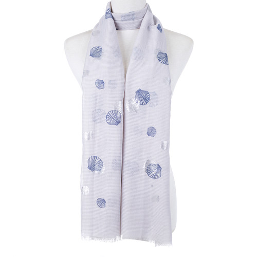 Grey Scallop Shell Pattern Large Summer Scarf SC8625