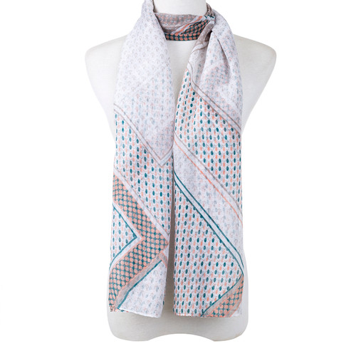 Grey Plaid Large Summer Scarf SC8632