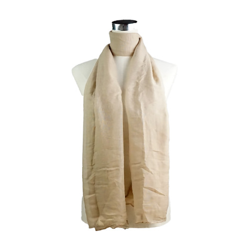Plain Beige Spring  Summer Lightweight Cotton Feeling Scarf SCX588