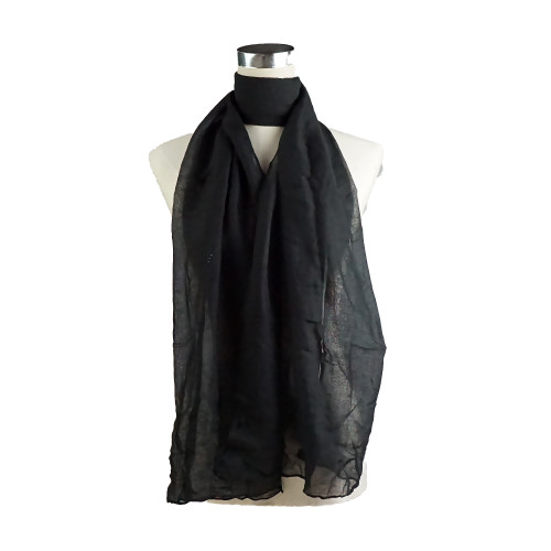Plain Black Spring  Summer Lightweight Cotton Feeling Scarf SCX588