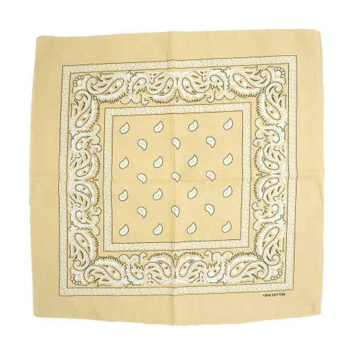 Beige 100% COTTON BANDANAS Paisley Square Head Scarf BPS001