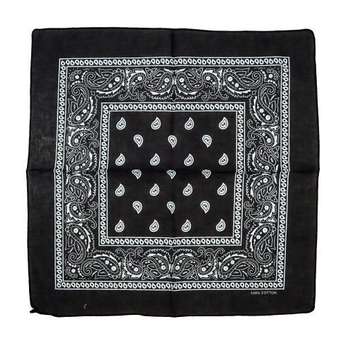 Black 100% COTTON BANDANAS Paisley Square Head Scarf BPS001