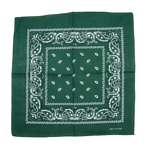 D Green 100% COTTON BANDANAS Paisley Square Head Scarf BPS001