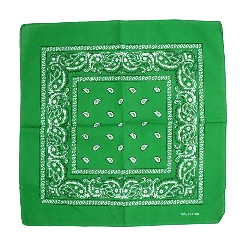 Green 100% COTTON BANDANAS Paisley Square Head Scarf BPS001