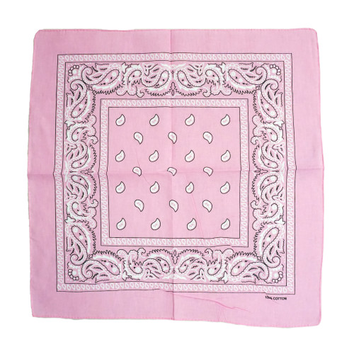 Pink 100% COTTON BANDANAS Paisley Square Head Scarf BPS001