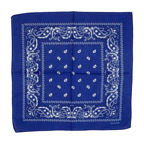 R Blue 100% COTTON BANDANAS Paisley Square Head Scarf BPS001