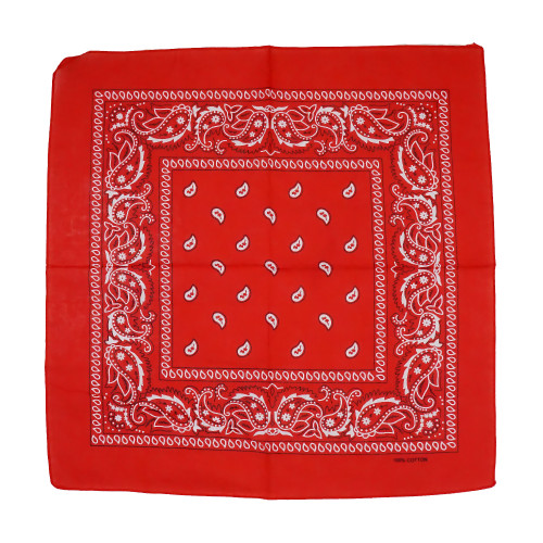 Red 100% COTTON BANDANAS Paisley Square Head Scarf BPS001